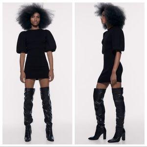 NWT. Zara Black Knit Puff Sleeves Dress. Size M.
